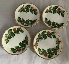 4 Queens Yuletide Holly Small Round Bowl Dish Rosina Fine Bone China Eng... - $35.52
