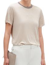 Banana Republic Womens Heath Beige Shine Trim Collar Tee T-Shirt Medium ... - $34.64