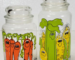 Pair Vintage Hildi Anthropomorphic Vegetables Storage Jar Canisters