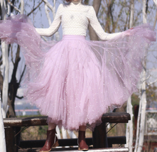Black Party Skirt Outift  Long Tulle Skirt Plus Size Black Tutu Skirt Pearl deco image 6