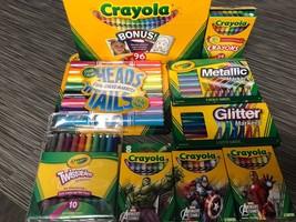 Lot Crayola Markers Crayons Glitter Metallic Twistables Avengers Pastels... - $35.53