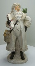 "10"" Antique Style Old World Santa Claus in Ivory Coat  with Tree and Package - $23.71"