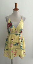 Hello Molly Yellow Floral Print Spaghetti Strap Mini Romper sz Medium - $24.74