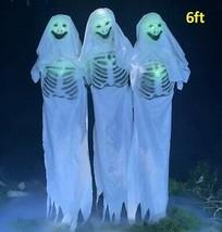 Animatronic Triple Ghost Lifesize Halloween Peop Moves Sound Spooky Hous... - $387.55