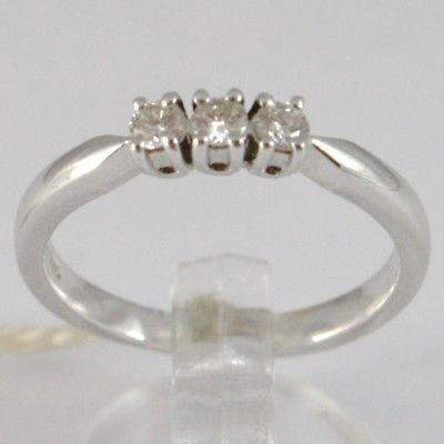 WHITE GOLD RING 750 18K, TRILOGY 3 DIAMONDS CARAT TOTAL 0.20, STEM SQUARE