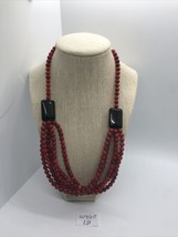 Stunning Vintage Red Beaded Necklace - $68.30