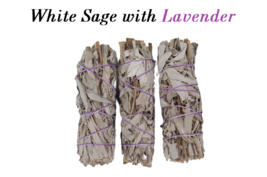 3 Sticks White Sage with Lavender Smudge 4''-5'' Long, Home & Energy Cle... - $14.36 CAD