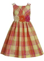 Bonnie Jean Little Girl 2T-6X Orange Yellow Triple Strap Metallic Plaid Shantung