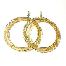 Gold Coated Metal Oversize Slit Dangling Hoop Earrings  - $5.00