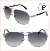 Jimmy Choo Walde Black Gold Blue Crystal Temple Aviator Sunglasses WALDE/S - $284.13