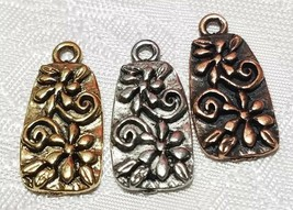 FLOWERS WITH CURLY STEMS FINE PEWTER PENDANT CHARM - 11x22x2mm image 1