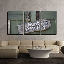 wall26 - 3 Piece Canvas Wall Art - Gone Fishing - Modern Home Decor Stretched an