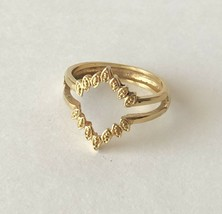 Vintage AN Signed Geometric Open Rhombus Textured Ring Size 11 - $13.69