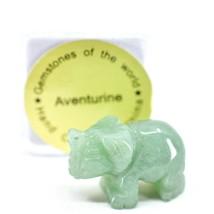 Aventurine Quartz Gemstone Tiny Miniature Elephant Figurine Hand Carved in China