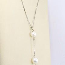 Necklace White Gold 18k, Pendant 2 White Pearls, Chain Venetian image 2