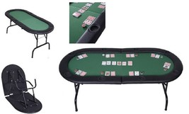 Texas Holdem Poker Portable Folding Table Casino 8 Players Black Cup Hol... - $118.70