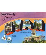 Greetings From Utah - Salt Lake City - 1930's - Vintage Postcard Poster - $9.99+