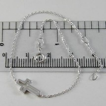 18K WHITE GOLD THIN 1 MM BRACELET 7.10 INCHES, WITH MINI CROSS, MADE IN ITALY image 1