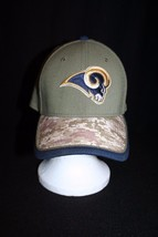 NFL Rams New Era 39THIRTY Camoflage Men Women Olive Green Lg-XL Stretch Cap Hat - $29.95