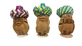 3 Pieces, Three Wise Monkeys Coconut Pack, Philippines, Novelty, Table T... - $5.93