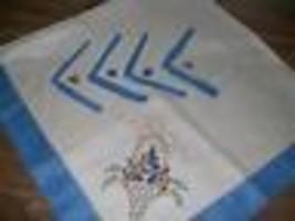 Hand Embroidered Linen Tablecloth Napkins Set of 4 Floral Blue Border St... - $41.99