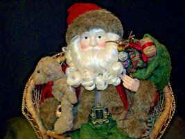 Christmas Santa Sitting on a Wicker Bench AA-191920 Collectible image 3