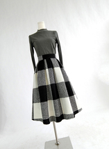 BLACK PLAID Midi Skirt Women Classy Winter Long Plaid Skirt Outfit Plus Size  image 2