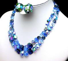 Vintage VOGUE Blue 2 Strand NECKLACE& EARRINGS Set AB Crystal With SQUAR... - $124.95