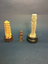 PAGODA Oriental Asian brass painted Indian totem pole base VINTAGE Figur... - $23.75