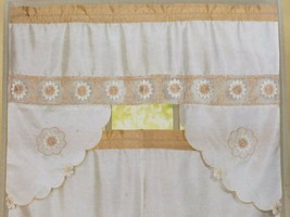 "Kitchen Embroidered Sheer Curtains Set (58"" x 36"") FLOWERS, ROSIE, beige... - $19.79"