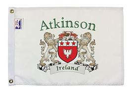 """Atkinson Irish Coat of Arms Small White Flag - 12""""x18"""" inches - $23.47"""