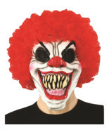 Creepy Evil Scary Halloween Clown Mask Rubber Latex Curly Clown FREESHIP - $30.50 CAD