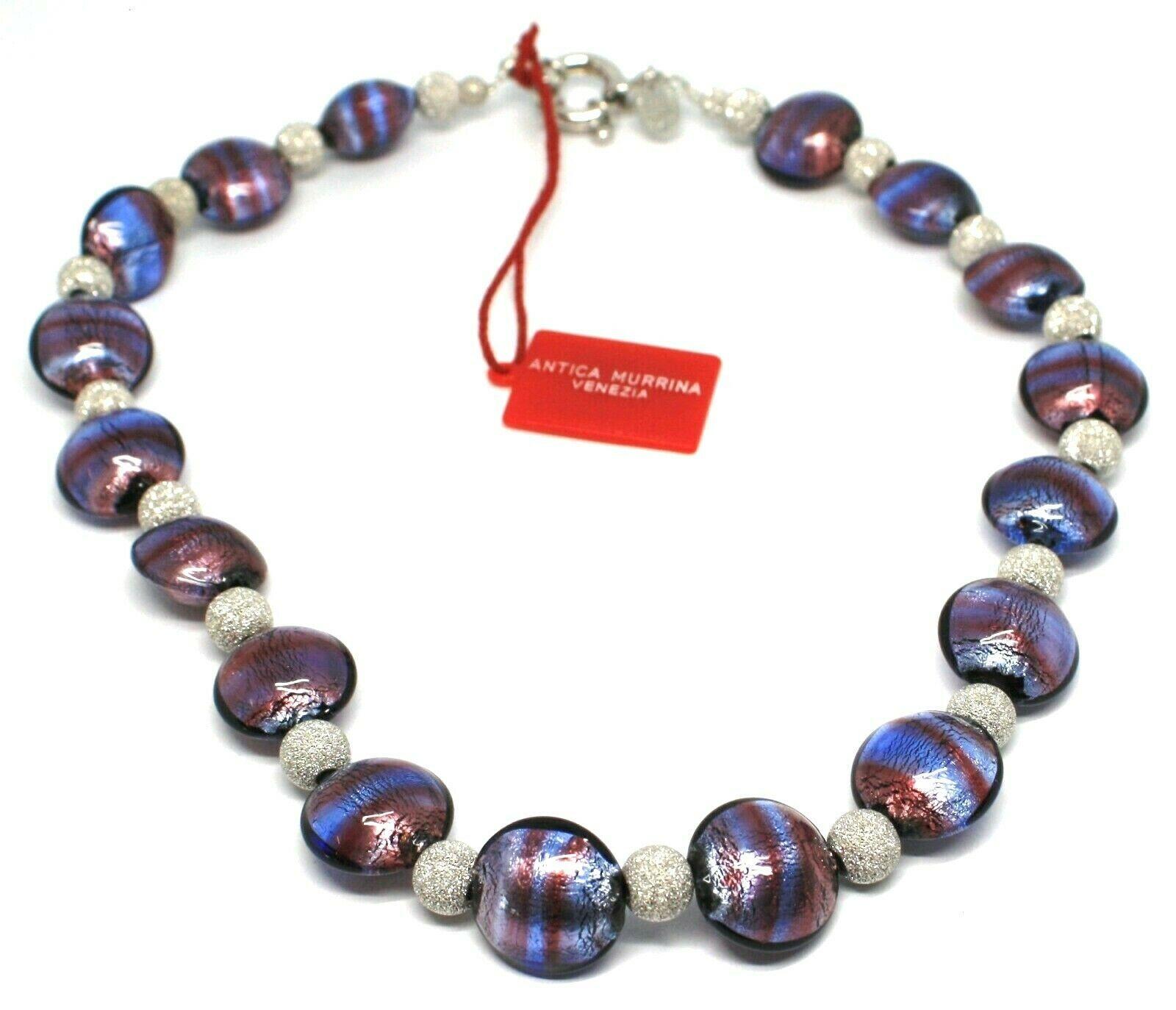 Necklace Antica Murrina Venezia,Glass Murano,925 Silver,Ovals Purple,CO015A05