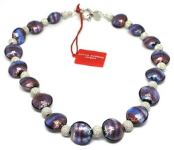 Necklace Antica Murrina Venezia,Glass Murano,925 Silver,Ovals Purple,CO0... - $221.91