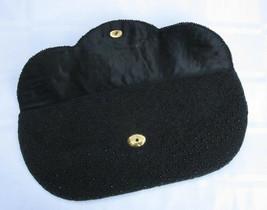 ART DECO HEAVILY BEADED BLACK SCALLOPED CLUTCH PURSE BAG Made in HONG KONG - $5.70