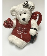 Boyds Bears 2004 Ceramic Teapot Born to Shop Forced to Cook! White Bear ... - $38.99