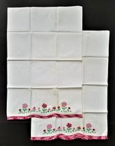 LOT vintage 2pc linen cotton PILLOW CASES EMBROIDERY PATTERN floral lace... - $38.95