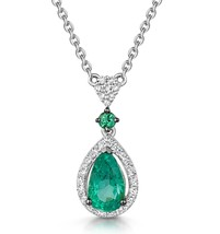 9K White Gold Emerald and Diamond Necklace in gift box
