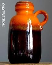 Vintage 60-70's SCHEURICH KERAMIK 413 Orange&Brown Vase West German Fat ... - $19.79