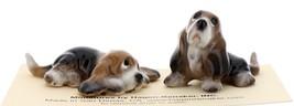 Hagen-Renaker Miniature Ceramic Dog Figurine Basset Hound Pups Sitting and Lying image 3
