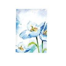 PANDA SUPERSTORE Beautiful Blue Flower Privacy Hanging Half Curtain Valance for
