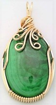 Malachite Gold Wire Wrap Pendant 1 - $44.00
