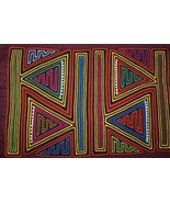 Kuna Abstract Art Mola Hand Stitched Applique Colorful Details Hatchet A... - $56.99