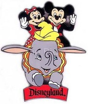 Disney DLR - Mickey & Minnie Dumbo RideAuthentic  on riginal card Pin - $64.99