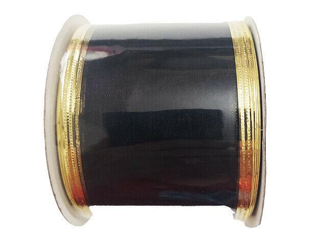 "Momentum Halloween 2.5"" Wire Ribbon, 3 Feet, Black & Gold"