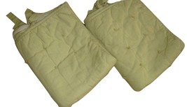Pottery Barn 2 Tufted Quilted Pillow Shams Green & Beige Linen Cotton Side Ties - $39.57