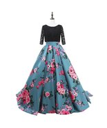 Women's Ball Gown Embroidery Evening Dresses Floral Print Long Prom Dres... - $118.99