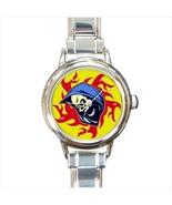 Skull Round Italian Charm Watch - $19.95