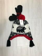 New Carter's Baby Hat & Mittens Set Red, Black & White Knit Tassel Cap S... - $5.94