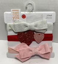 Baby Girls' 3pk Glitter Bow Headwrap Just One You Valentine's Day Headba... - $5.97